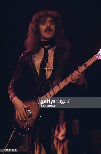 Geezer Butler bassist with British heavy metal band 'Black Sabbath' during a live concert performance at Madison Square Garden in New York City New...