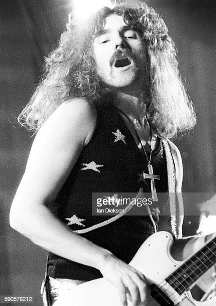 Geezer Butler of Black Sabbath performing on stage at Rainbow Theatre London 16 March 1973