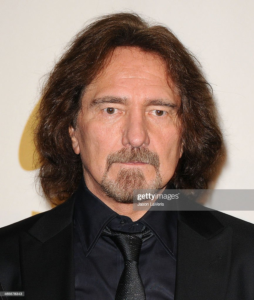 Geezer Butler of Black Sabbath poses in the press room at the 56th GRAMMY Awards at Staples Center on January 26, 2014 in Los Angeles, California.