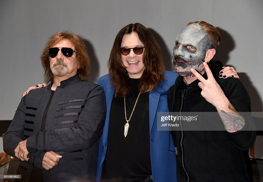 Geezer Butler, Ozzy Osbourne and Corey Taylor attend the Ozzy Osbourne and Corey Taylor Special Announcement on May 12, 2016 in Hollywood, California.