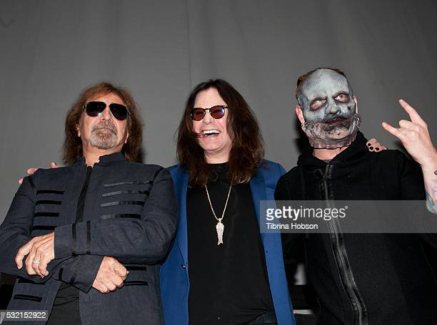 Geezer Butler Ozzy Osbourne and Corey Taylor attend the Ozzy Osbourne and Corey Taylor Special Announcement on May 12 2016 in Hollywood California