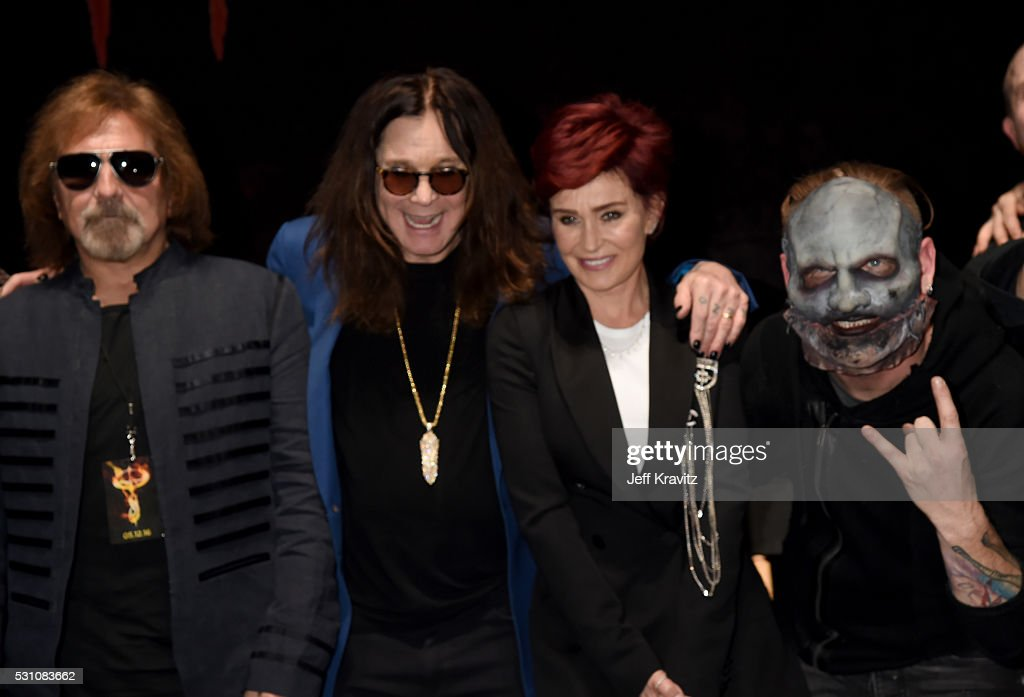 Geezer Butler, Ozzy Osbourne, Sharon Osbouren and Corey Taylor attend the Ozzy Osbourne and Corey Taylor Special Announcement on May 12, 2016 in Hollywood, California.