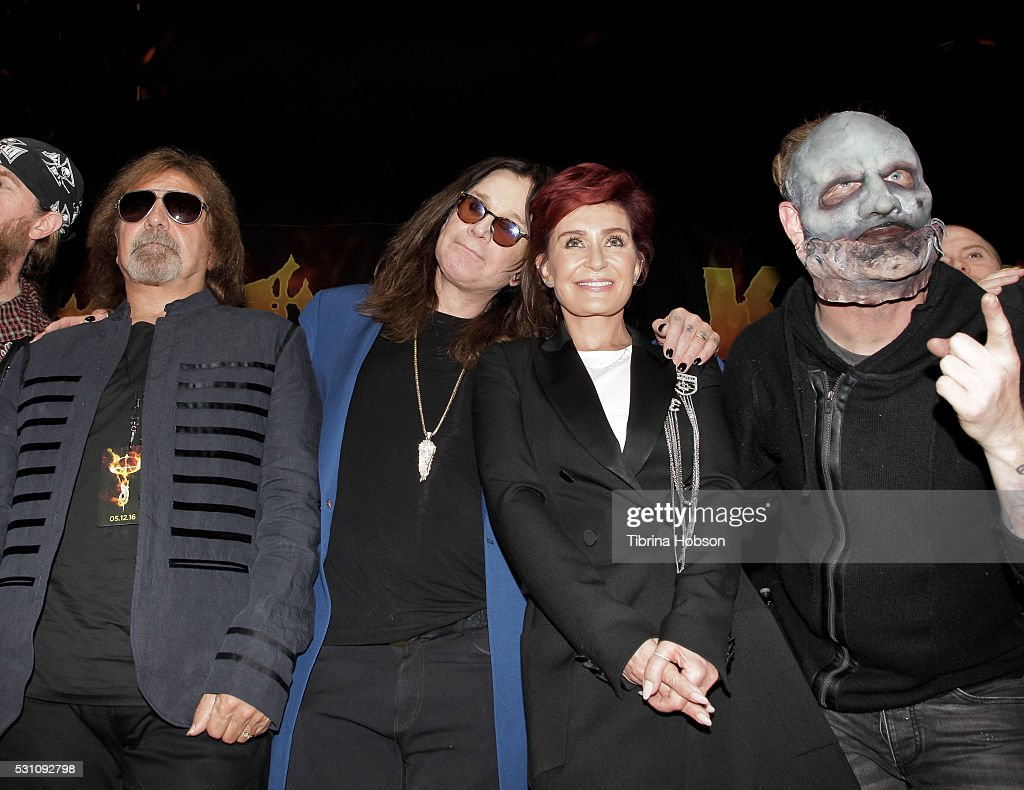 Geezer Butler, Ozzy Osbourne, Sharon Osbourne and Corey Taylor attend the Ozzy Osbourne and Corey Taylor special announcement press conference on May 12, 2016 in Hollywood, California.