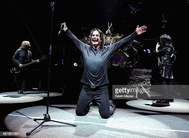 Geezer Butler Ozzy Osbourne Tommy Clufetos and Tony Iommi of Black Sabbath perform onstage at Barclays Center of Brooklyn on March 31 2014 in New...