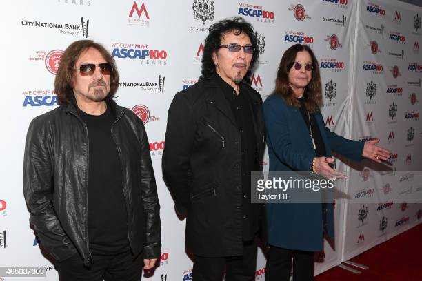 Geezer Butler Tony Iommi and Ozzy Osbourne of Black Sabbath attend ASCAP's 2014 Grammy Nominee Brunch at SLS Hotel on January 25 2014 in Beverly...