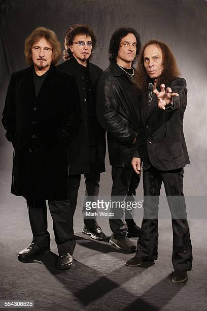 Geezer Butler Tony Iommi Vinny Appice and Ronnie James Dio of Heaven and Hell studio group portrait United States 2007