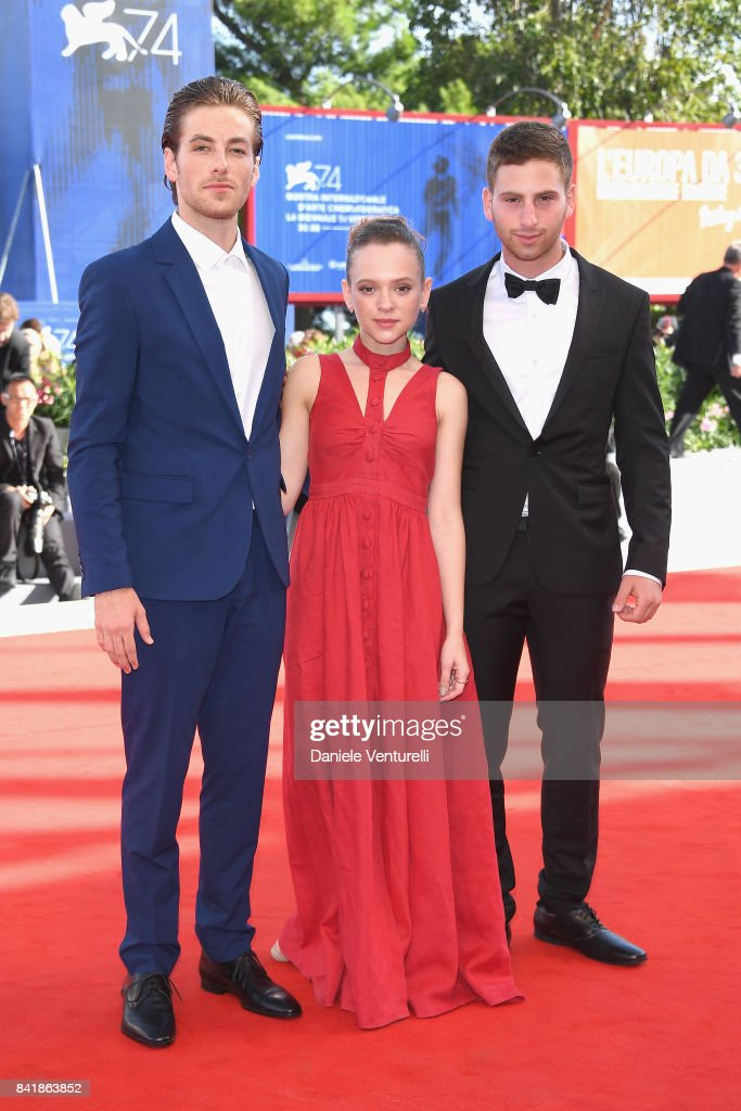 Gefen Barkai, Shira Haas and Yonathan Shiray walk the red carpet ahead of the 'Foxtrot' screening during the 74th Venice Film Festival at Sala Grande on September 2, 2017 in Venice, Italy.