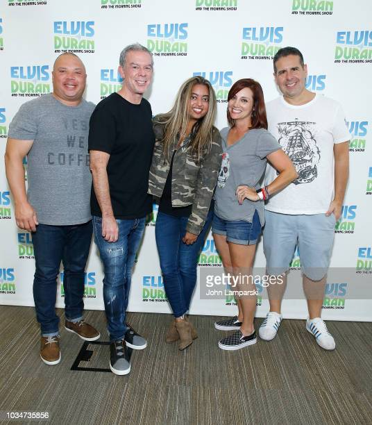 Geg T Elvis Duran Danielle Monaro and Skeery Jones pose with Cohost Medha Gandhi as she joins The Elvis Duran Z100 Morning Show at Z100 Studio on...