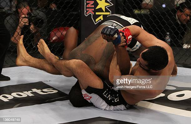 Gegard Mousasi attempts to submit Ovince St Preux during the Strikeforce event at the Valley View Casino Center on December 17 2011 in San Diego...