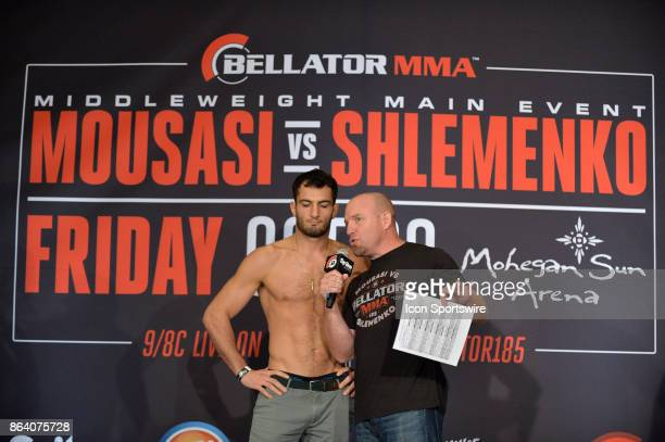 Gegard Mousasi gives an interview after posing for photos at the weighin Gegard Mousasi will be challenging Alexander Shlemenko in a Middleweight...