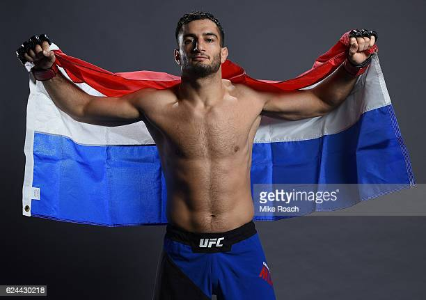 Gegard Mousasi of Iran poses for a portrait backstage after his victory over Uriah Hall during the UFC Fight Night at the SSE Arena on November 19...