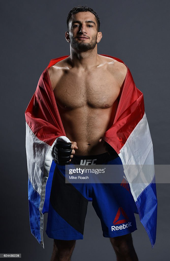 Gegard Mousasi of Iran poses for a portrait backstage after his victory over Uriah Hall during the UFC Fight Night at the SSE Arena on November 19, 2016 in Belfast, Northern Ireland.