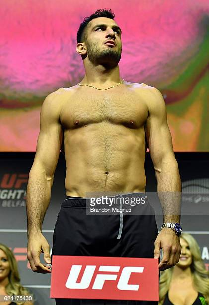 Gegard Mousasi of the Netherlands steps onto the scale during the UFC Fight Night weighin at the SSE Arena on November 18 2016 in Belfast Northern...