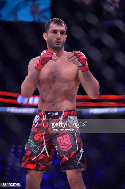 Gegard Mousasi takes on Alexander Shlemenko in a Middleweight bout on October 20, 2017 at Bellator 185 at the Mohegan Sun Arena in Uncasville,...