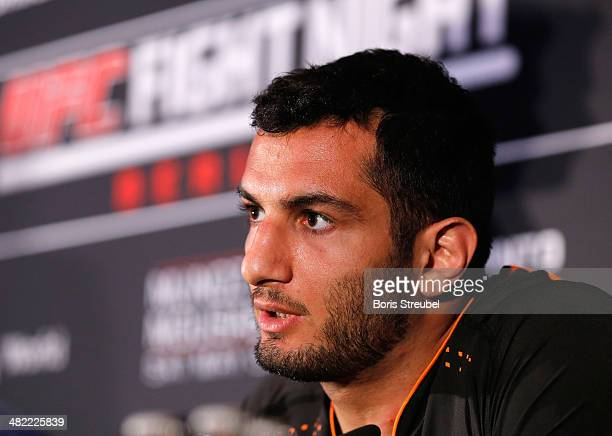 Gegard Mousasi 'The Dreamcatcher' attend the press conference ahead of the UFC Fight Night Berlin at O2 world on March 22 2014 in Berlin Germany