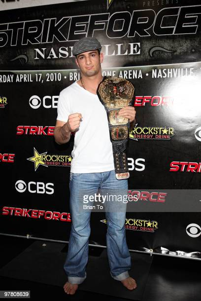 Gegard ''The Dreamcatcher'' Mousasi attends ''StrikeForce'' MMA fighters at the open media workout at the Legends MMA Training Center on March 17...