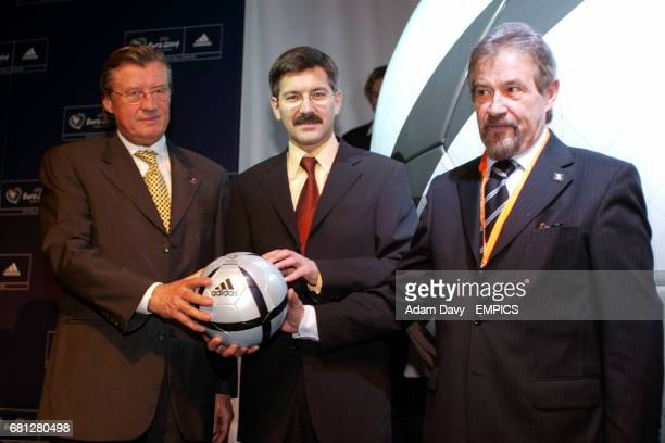 Gehard Aigner UEFA CEO the CEO of Adidas and Dr Gilberto Madail Portuguese Football President and Chairman of the board of the Euro 2004 with the new...