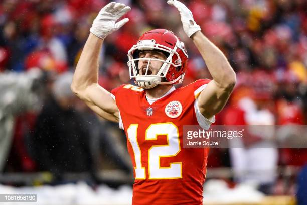 Gehrig Dieter of the Kansas City Chiefs tries to pump up the crowd after a play against the Indianapolis Colts during the first half of the AFC...