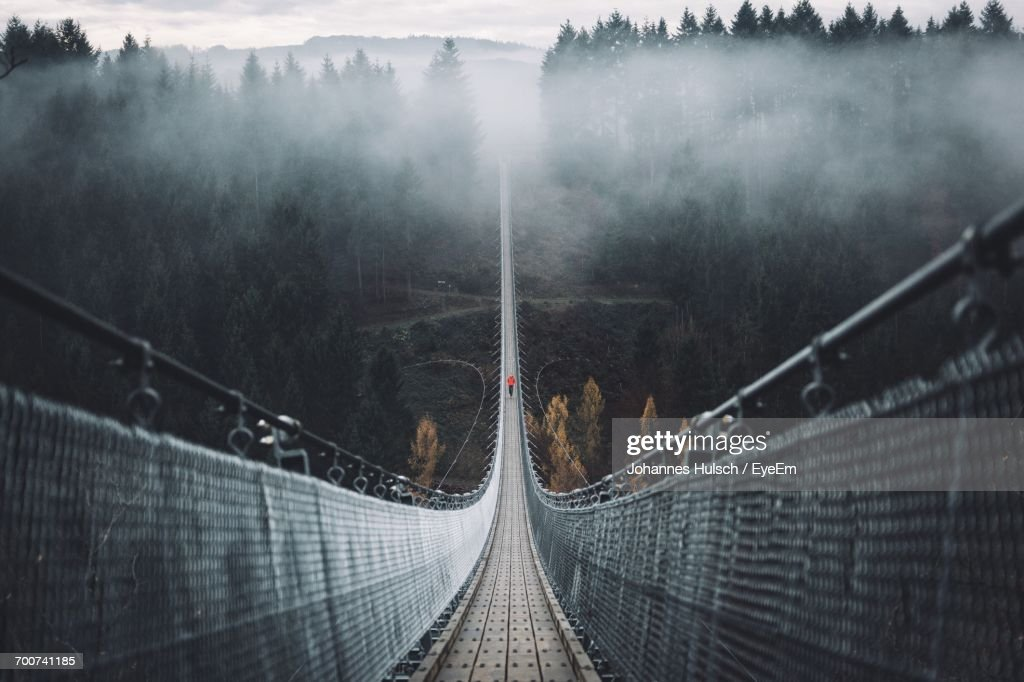 Geierlay Hangeseilbrucke Over Valley During Foggy Weather : Stock Photo