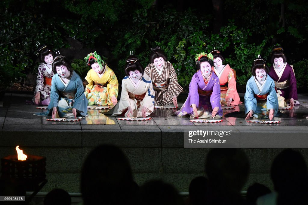 Geiko and Maiko applaud after their perform at Kawabun-za on May 16, 2018 in Nagoya, Aichi, Japan.