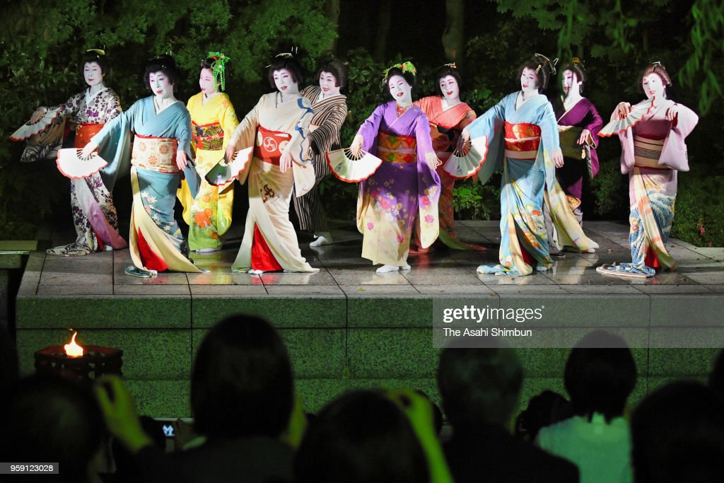 Geiko and Maiko perform at Kawabun-za on May 16, 2018 in Nagoya, Aichi, Japan.