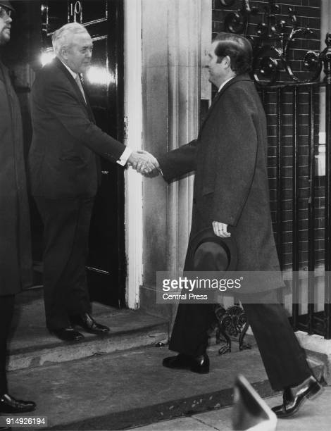 Geir Hallgrimsson the Prime Minister of Iceland arrives at 10 Downing Street in London for talks with British Prime Minister Harold Wilson on the Cod...