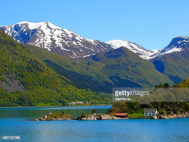 Geiranger fjord green landscape from cruise, Norway, Scandinavia