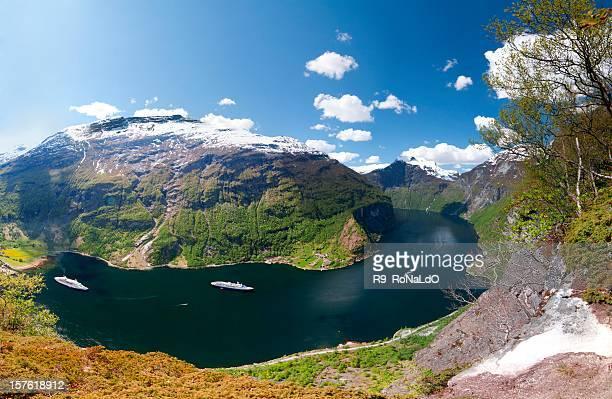 Geiranger Fjord Panorama at hellesylt Norway