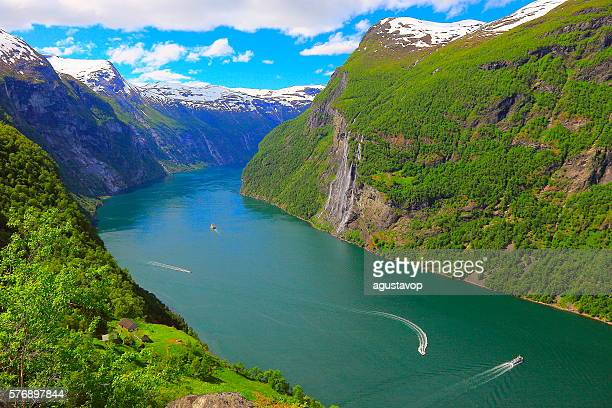 Geirangerfjord, Cruise ships group, Seven Sisters Waterfall - Norway, Scandinavia