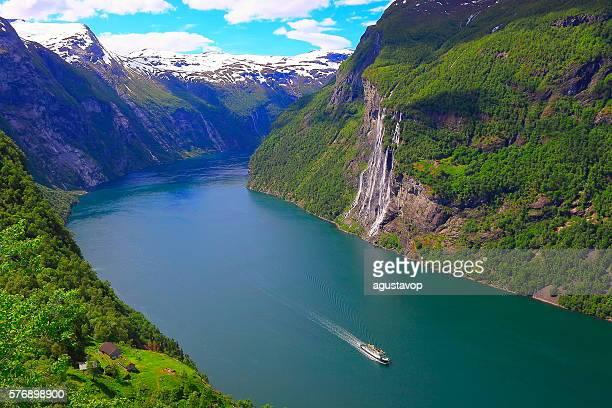 Geirangerfjord, one Cruise ship, Seven Sisters Waterfall - Norway, Scandinavia