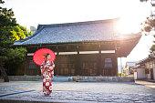 Geisha at the temple