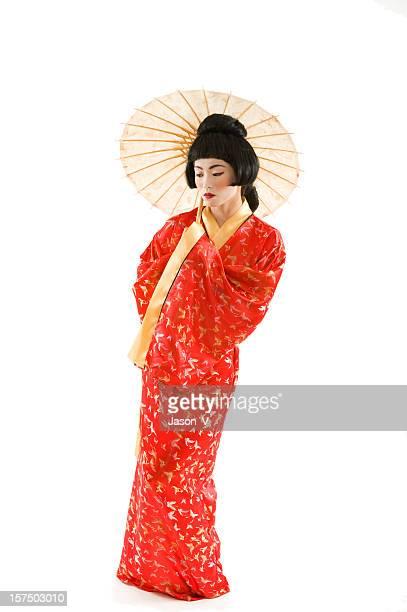 Geisha, isoliert auf weiss