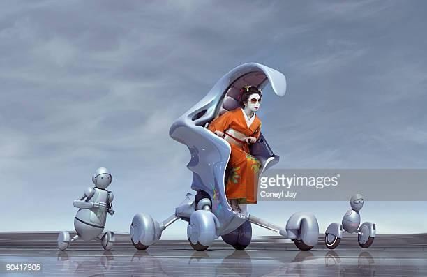 Geisha riding a futuristic car, followed by robots