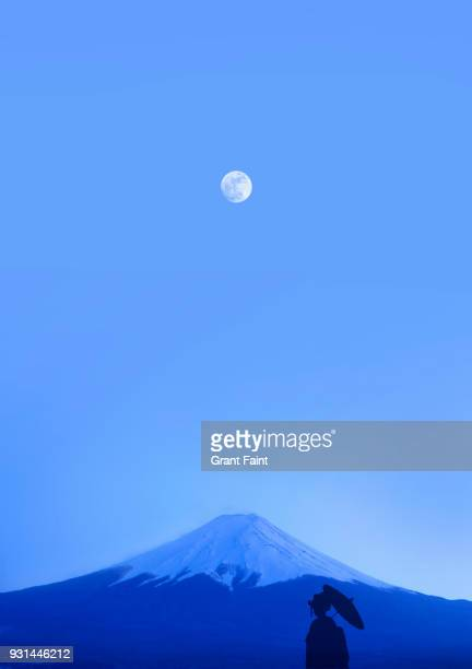 Geisha standing before Mountain with moonrise.