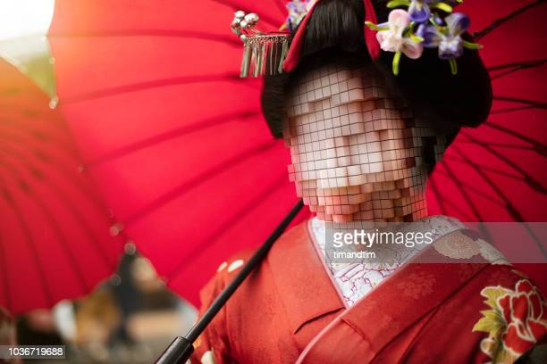 geisha with head made of pixels - pixelated stock pictures, royalty-free photos & images