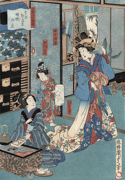 Geisha And Hibachi By Kunisada Wall Art