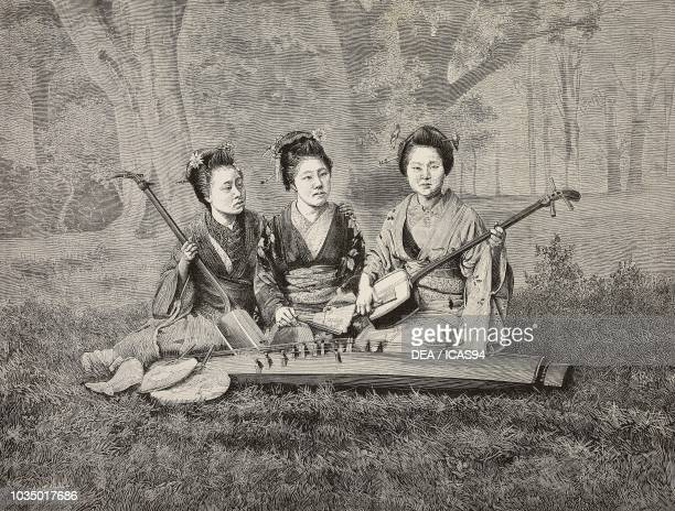 Geishas playing the shamisen and the koto engraving by Cantaballi from the book Giappone e Siberia by Luchino Dal Verme from L'Illustrazione Italiana...
