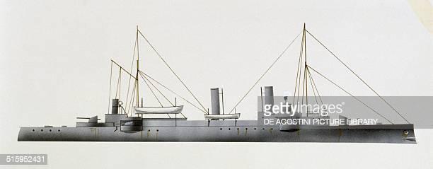 Gejser protected cruiser Danimarca drawing