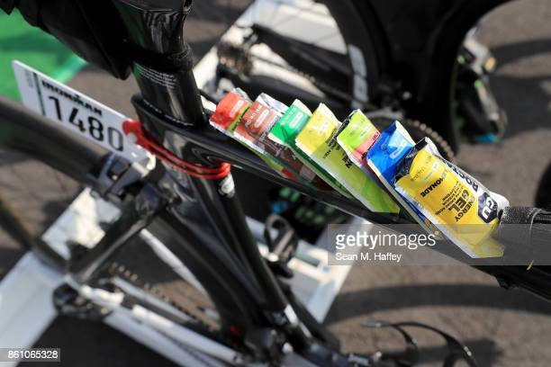 Gel packs on bikes are seen in the transition area before the IRONMAN World Championship on October 13 2017 in Kailua Kona Hawaii