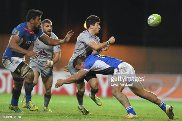Gela Aprasidze of Georgia offloads during the rugby international test match between Georgia and Samoa at Avchala Stadium on November 17 2018 in...