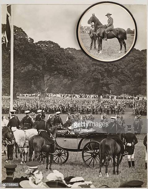 UNITED KINGDOM NOVEMBER 15 Gelatin silver print Photograph by Horace W Nicholls of the first Boy Scout rally King George V is mounted with Queen Mary...