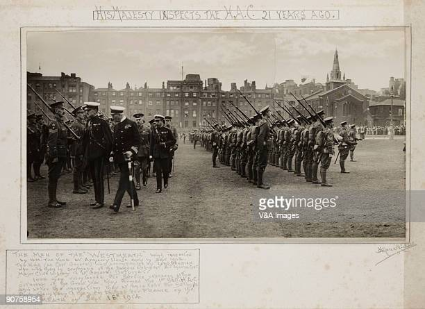 UNITED KINGDOM Gelatin silver print Photograph by Horace W Nicholls of the men of the 'Westmeath' being inspected by King George V at Armoury House...