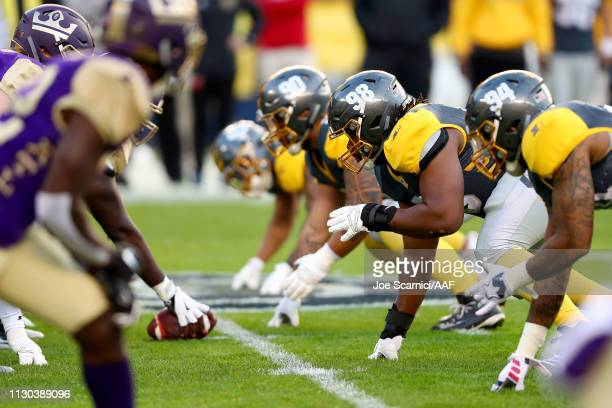 Gelen Robinson of the San Diego Fleet lines up for a play in the first quarter against the Atlanta Legends during the Alliance of American Football...