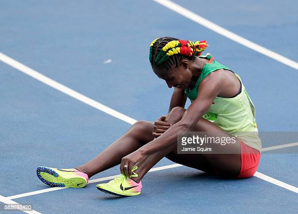 Gelete Burka of Ethiopia looks on after the Women's 10000 metres final on Day 7 of the Rio 2016 Olympic Games at the Olympic Stadium on August 12...