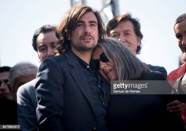 Gelete Nieto and Josefa Aguilar during the Funeral Tribute For Angel Nieto in Madrid on September 16 2017 in Madrid Spain