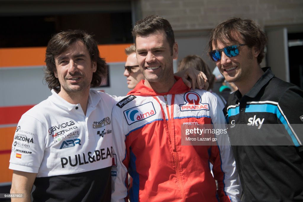 Gelete Nieto, Fonsi Nieto, Pablo Nieto of Spain (Nieto's Family) pose in paddock during the MotoGp Red Bull U.S. Grand Prix of The Americas - Previews at Circuit of The Americas on April 19, 2018 in Austin, Texas.