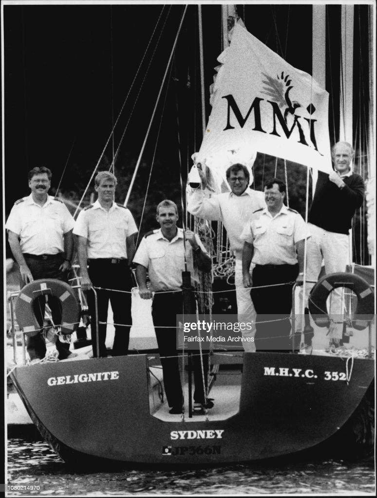 Gelignite, a 35 ft aluminium yacht, with crew  (from left) squad leader Evan Johnston, leading aircraftsman Douglas Grieson, Aircrftsman Andrew Fleming, Hugh Cameron, Flt. Sgt. Pete Jones, and Don Richardson, skipper.Ready to explode on the sailing scene. : News Photo
