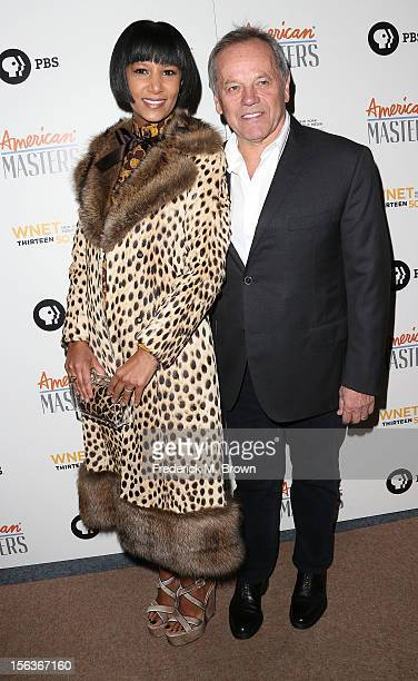 Gelila Assefa and chef Wolfgang Puck attend the Premiere Of 'American Masters Inventing David Geffen' at The Writers Guild of America on November 13...