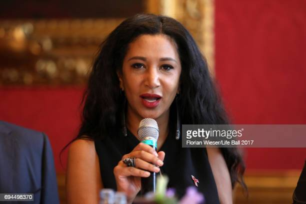 Gelila Puck speaks at the Life Ball 2017 press conference at Town Hall on June 10 2017 in Vienna Austria The Life Ball an annual charity ball raising...