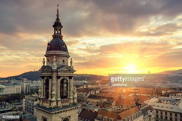 gellert hill castle hill and st stephen's basilica in budapest - hungary stock pictures, royalty-free photos & images